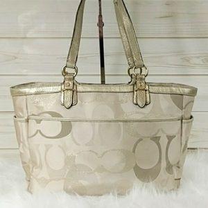 Coach gold an beige classic c shoulder bag
